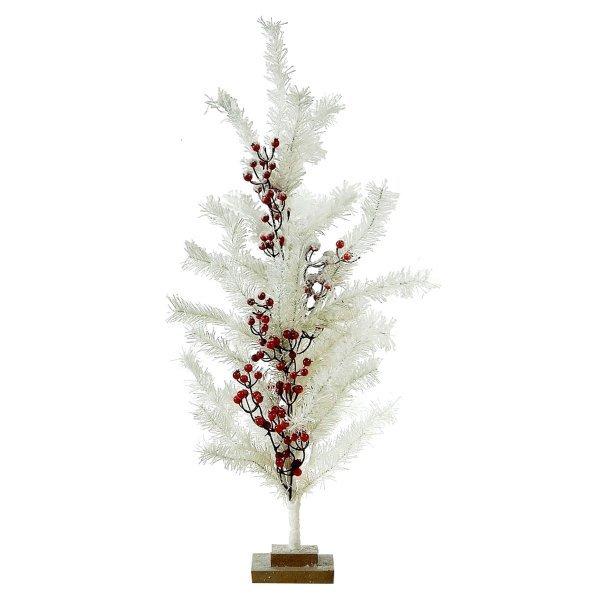 Χριστουγεννιάτικο Επιτραπέζιο Δέντρο Λευκό με Γκι (76cm)