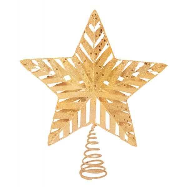 Χριστουγεννιάτικη Κορυφή Δέντρου Μεταλλική, Χρυσή με Βάση από Ελατήριο (25cm)