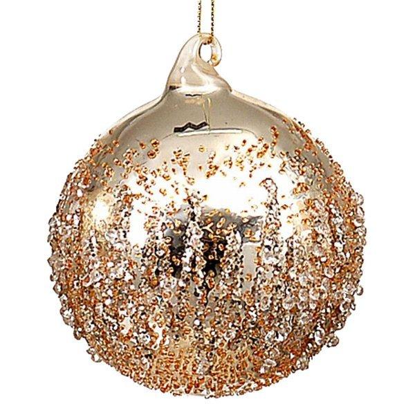 Χριστουγεννιάτικη Μπάλα Γυάλινη Σαμπανιζέ με Γκλιτερ (10cm)