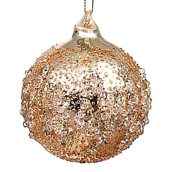 Χριστουγεννιάτικη Μπάλα Γυάλινη Σαμπανιζέ με Γκλιτερ (8cm)