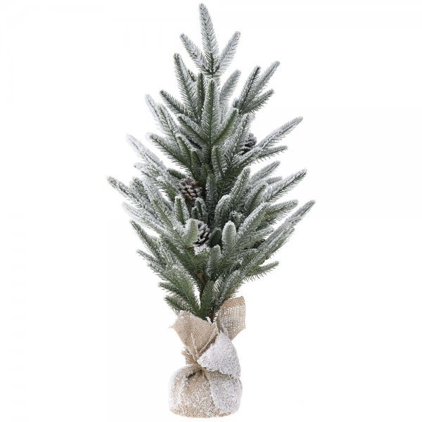 Χριστουγεννιάτικο Επιτραπέζιο Δέντρο Χιονισμένο με Σακί και Κουκουνάρια (72cm)