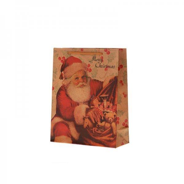 Χριστουγεννιάτικη Σακούλα Δώρου, με Άγιο Βασίλη (22cm)