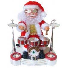 Χριστουγεννιάτικος Άγιος Βασίλης που Παίζει Ντραμς, με Ήχο, Κίνηση και Φως (20cm)