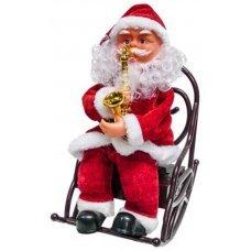 Χριστουγεννιάτικος Άγιος Βασίλης σε Κουνιστή Καρέκλα που Παίζει Σαξόφωνο, με Ήχο (25cm)