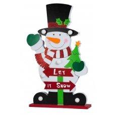 Χριστουγεννιάτικος Διακοσμητικός Χιονάνθρωπος, με 6 LED Μπαταρίας (48cm)