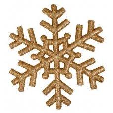 Χριστουγεννιάτικη Κρεμαστή Χιονονιφάδα Οροφής, Γυαλιστερή Χρυσή (29cm)