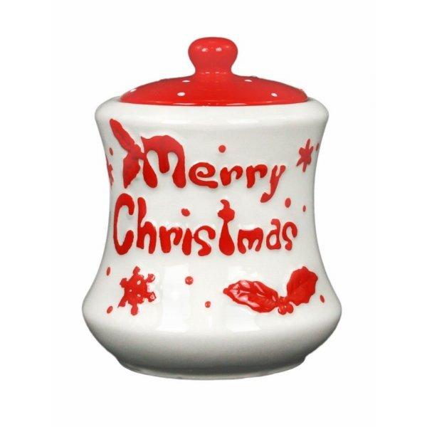 """Χριστουγεννιάτικη Κεραμική Μπισκοτιέρα """"Merry Christmas"""" (17cm)"""