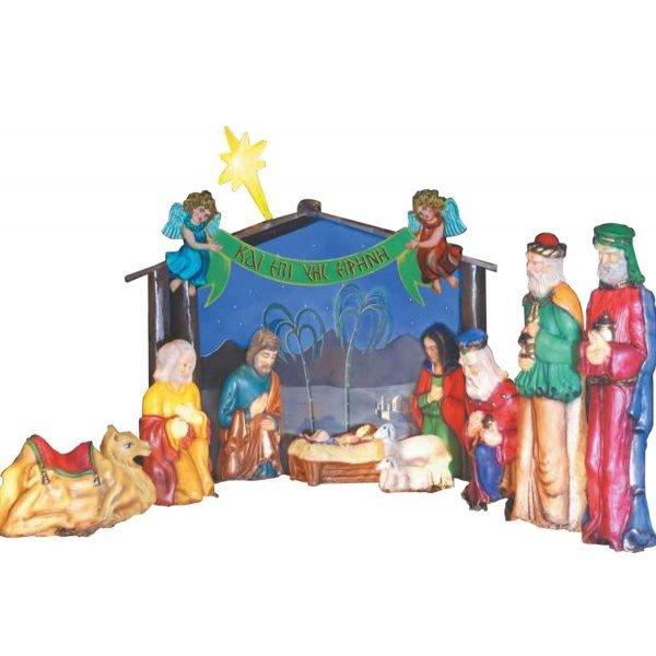 Χριστουγεννιάτικη Φάτνη με Φωτιζόμενες Φιγούρες (2,3m)