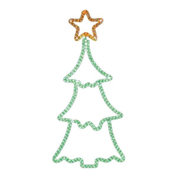 Χριστουγεννιάτικo Επιστύλιo Δέντρο με Φωτοσωλήνα (1.45m)