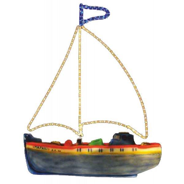 Χριστουγεννιάτικo Φωτιζόμενο Καράβι με Φωτοσωλήνα (1.15m)