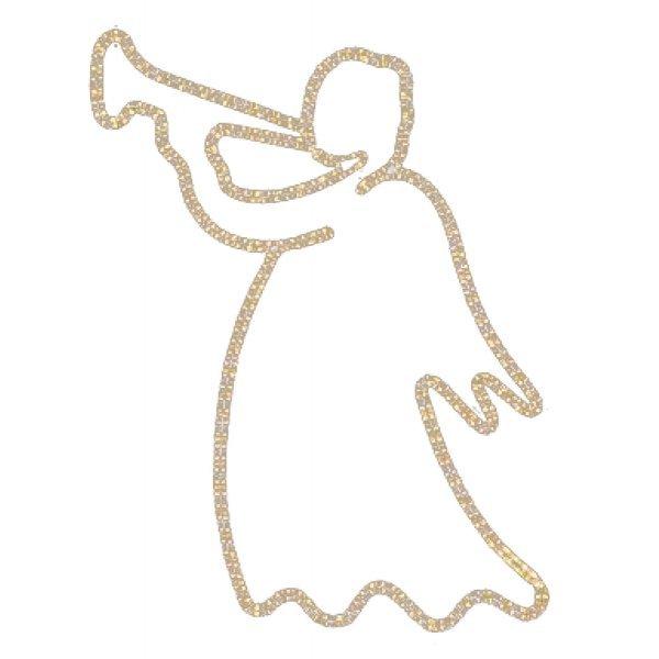 Χριστουγεννιάτικoς Επιστύλιoς Άγγελος με Φωτοσωλήνα (1.5m)