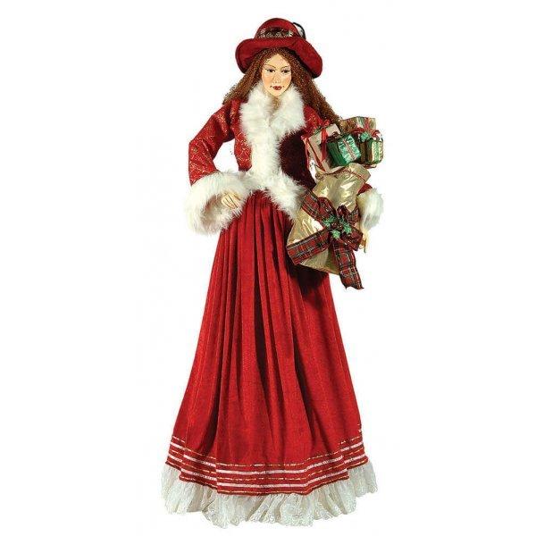 Χριστουγεννιάτικη Διακοσμητική Γυναίκα από Ελεφαντόδοντο, με Κόκκινο Φόρεμα και Δώρα (1.3m)