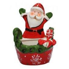Χριστουγεννιάτικο Κεραμικό Καλαθάκι Άγιος Βασίλης (18cm)