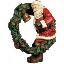 Χριστουγεννιάτικο Διακοσμητικό Κεραμικό Στεφάνι με Άγιο Βασίλη, Εξωτερικού Χώρου (108cm)
