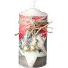Χριστουγεννιάτικο Διακοσμητικό Κερί, Λευκό με Αστέρι, Φιογκάκι και Καμπανούλες (15cm)