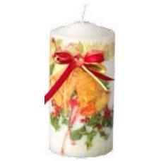 Χριστουγεννιάτικο Διακοσμητικό Κερί, Λευκό με Καμπάνες και Κόκκινο Φιόγκο (15cm)