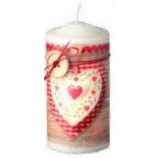 Χριστουγεννιάτικο Διακοσμητικό Κερί, Λευκό με Καρδιά και Κουμπί με Φιόγκο (15cm)
