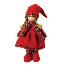 Χριστουγεννιάτικο Διακοσμητικό Κοριτσάκι, με Κόκκινο Φόρεμα, Σκούφο και Καρό Κασκόλ (37cm)