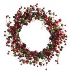 Χριστουγεννιάτικο Διακοσμητικό Στεφάνι με Κόκκινα, Μαύρα και Πράσινα Μούρα (43cm)