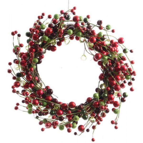 Χριστουγεννιάτικο Στεφάνι με Κόκκινα, Μαύρα και Πράσινα Μούρα