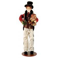 Χριστουγεννιάτικος Διακοσμητικός Άντρας από Ελεφαντόδοντο, με Ψηλό Καπέλο και Δώρα (1.3m)