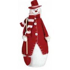 Χριστουγεννιάτικος Διακοσμητικός Χιονάνθρωπος, με Κόκκινο Παλτό (52cm)