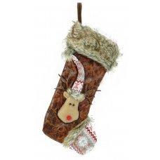 Χριστουγεννιάτικη Διακοσμητική Κάλτσα, Καφέ με Γουνάκι και Ανάγλυφο Τάρανδο (44cm)