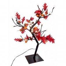 Χριστουγεννιάτικο Φωτιζόμενο Δέντρο, Κόκκινη Βελανιδιά με Υφασμάτινα Φύλλα και 24 LED (45cm)