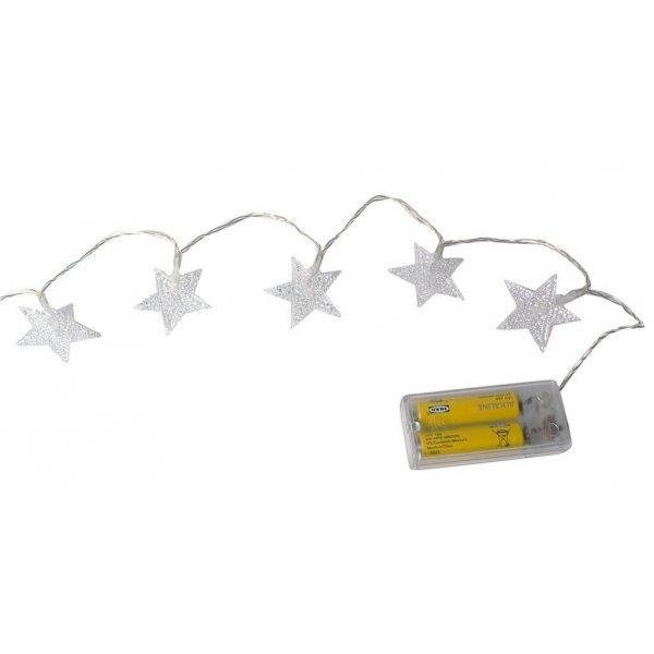 10 Λευκά Θερμά Λαμπάκια LED Μπαταρίας, με Αστεράκια  (1m)