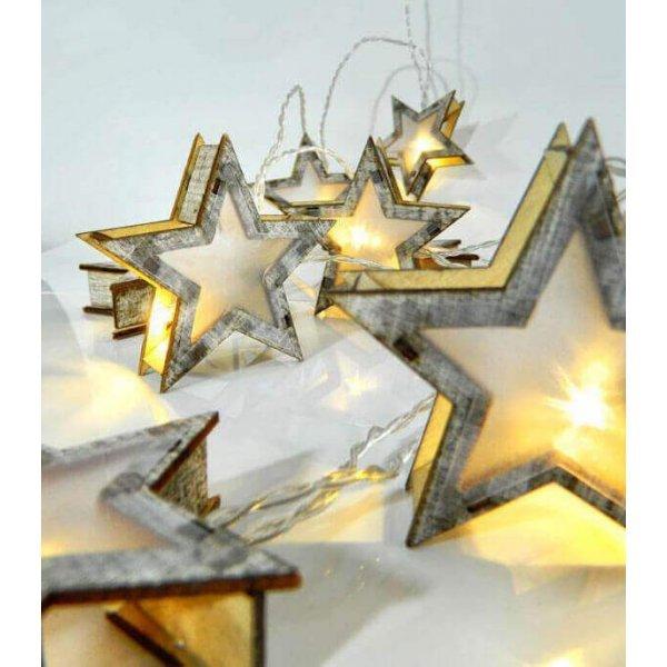 10 Λευκά Θερμά Λαμπάκια LED Μπαταρίας, με Ξύλινα Αστέρια (1.5m)