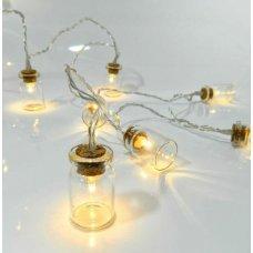 10 Λευκά Θερμά Λαμπάκια LED Μπαταρίας, με Γυάλινα Βαζάκια (1.5m)