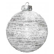 Χριστουγεννιάτικη Γυάλινη Μπάλα Διάφανη Χιονισμένη (8cm)