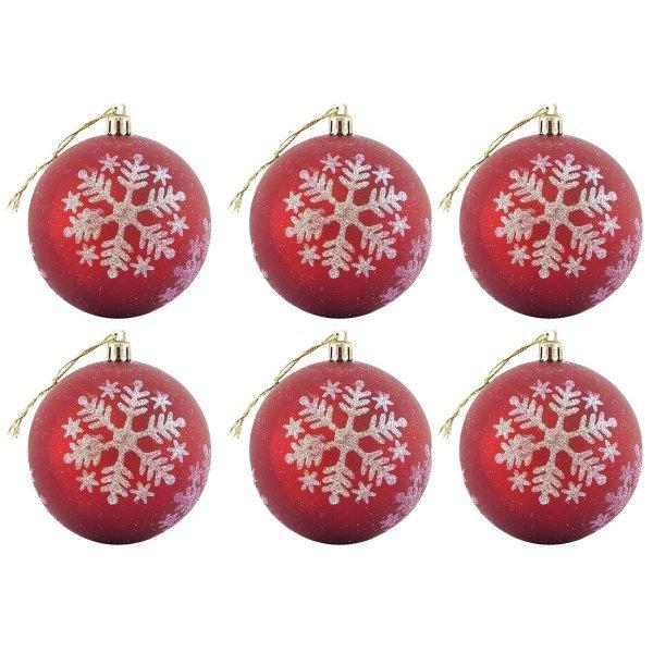 Χριστουγεννιάτικες Μπάλες Κόκκινες με Σχέδιο Λευκή Νιφάδα - Σετ 6 τεμ. (8cm)
