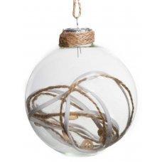 Χριστουγεννιάτικη Γυάλινη Μπάλα Διάφανη, με Κορδόνια και Κουμπιά στο Εσωτερικό (8cm)