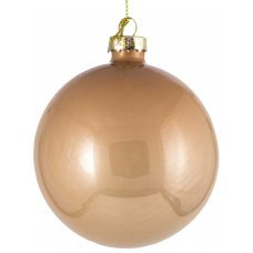 Χριστουγεννιάτικη Γυάλινη Μπάλα Μπεζ (10cm)