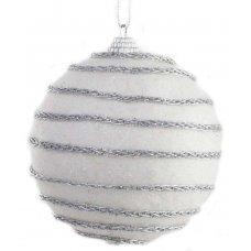 Χριστουγεννιάτικη Μπάλα Λευκή, με Ασημί Αλυσίδα (10cm)
