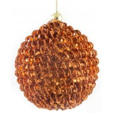 Χριστουγεννιάτικη Μπάλα Μπρονζέ, Ανάγλυφη (10cm)
