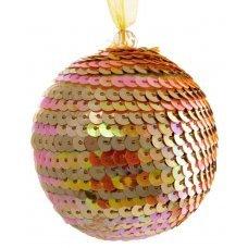 Χριστουγεννιάτικη Μπάλα Πορτοκαλί, με Πούλιες (8cm)
