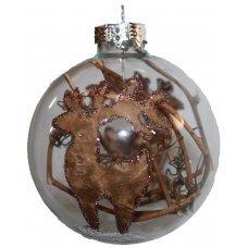 Χριστουγεννιάτικη Γυάλινη Μπάλα Διάφανη, με Τάρανδο και Κλαδάκια στο Εσωτερικό (8cm)