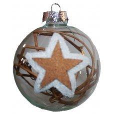 Χριστουγεννιάτικη Γυάλινη Μπάλα Διάφανη, με Αστεράκι και Κλαδάκια στο Εσωτερικό (8cm)