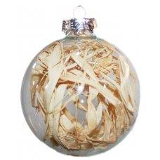 Χριστουγεννιάτικη Γυάλινη Μπάλα Διάφανη, με Κλαδάκια στο Εσωτερικό (8cm)
