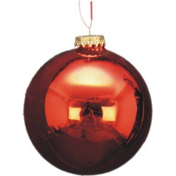 Χριστουγεννιάτικη Γυάλινη Μπάλα Γυαλιστερή, Κόκκινη (10cm)