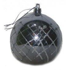 Χριστουγεννιάτικη Μπάλα Ασημί, με Καρό Σχέδια από Χρυσόσκονη (10cm)