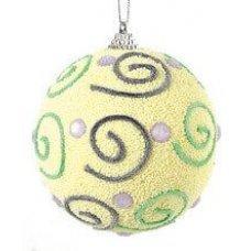 Χριστουγεννιάτικη Μπάλα Κίτρινη, με Σχέδια (8cm)
