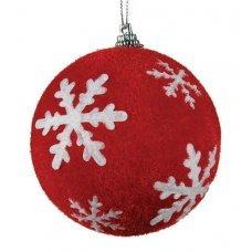 Χριστουγεννιάτικη Μπάλα Κόκκινη με Λευκές Νιφάδες (10cm)