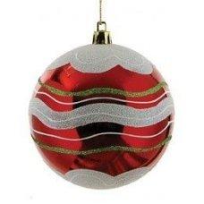 Χριστουγεννιάτικη Μπάλα Κόκκινη με Λευκό (10cm)