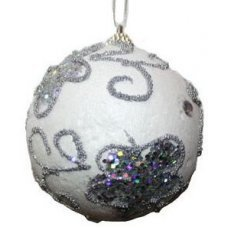 Χριστουγεννιάτικη Μπάλα Λευκή με Ασημί Πεταλούδες από Στρας (8cm)