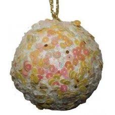 Χριστουγεννιάτικη Μπάλα Λευκή με Πούλιες (8cm)