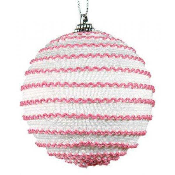 Χριστουγεννιάτικη Μπάλα Λευκή, με Ροζ Κλωστές (8cm)