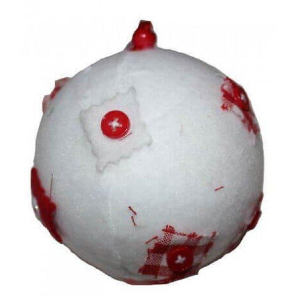 Χριστουγεννιάτικη Μπάλα Λευκή, με Τσόχα και Κόκκινα Κουμπιά (10cm)